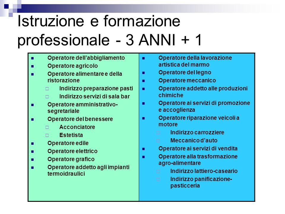 Istruzione e formazione professionale - 3 ANNI + 1