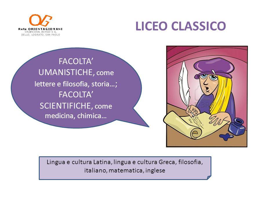 LICEO CLASSICOFACOLTA' UMANISTICHE, come lettere e filosofia, storia…; FACOLTA' SCIENTIFICHE, come medicina, chimica…