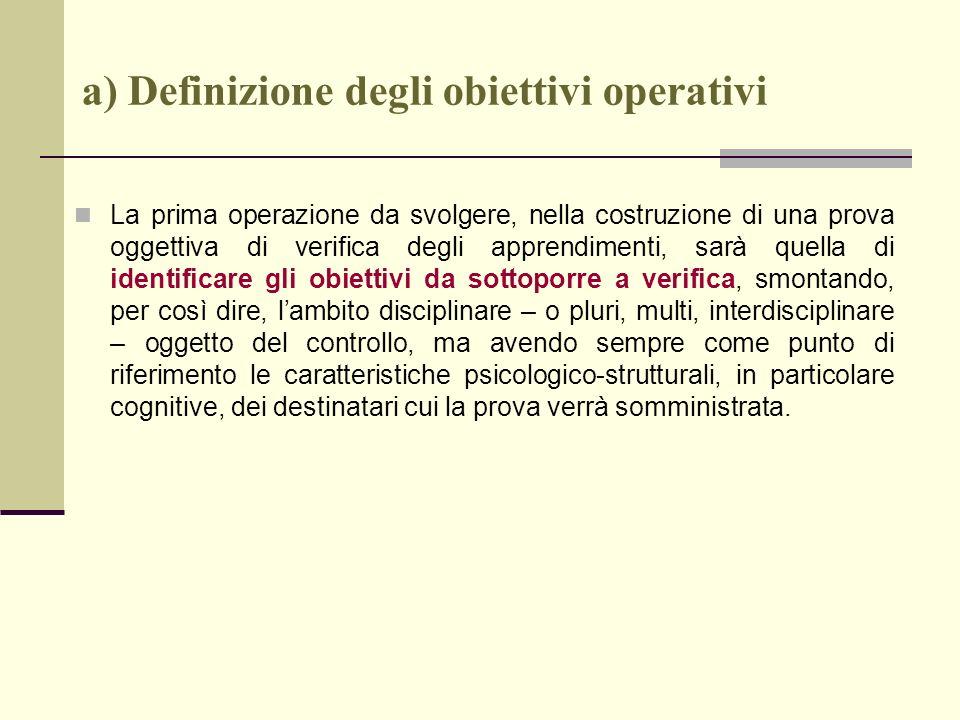 a) Definizione degli obiettivi operativi