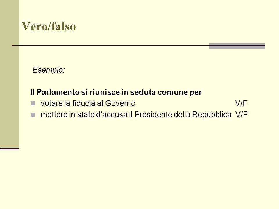 Vero/falso Esempio: Il Parlamento si riunisce in seduta comune per