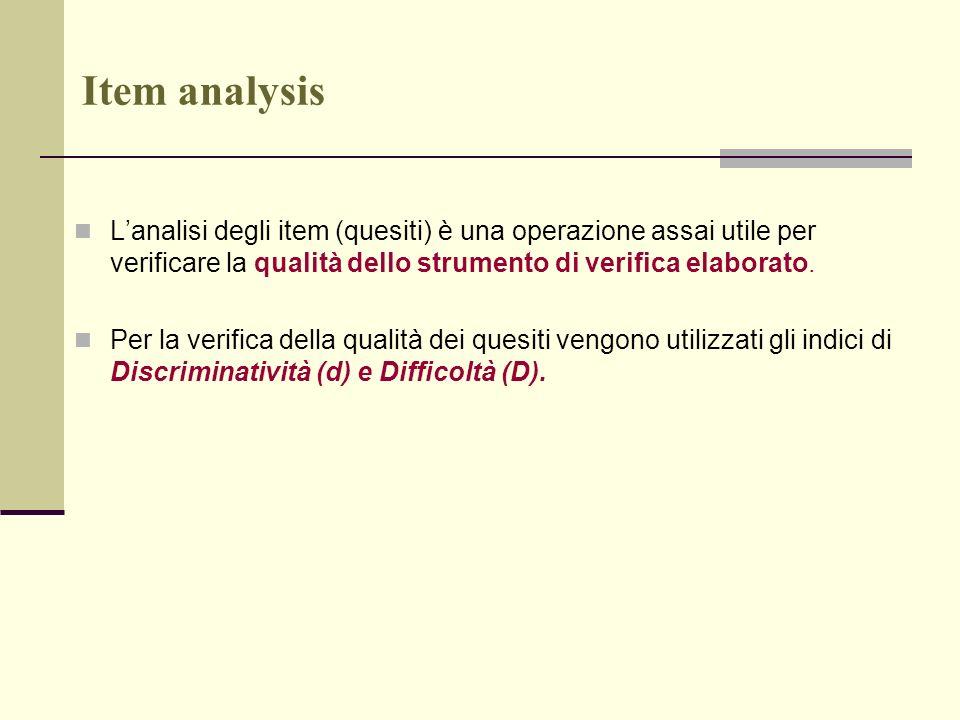 Item analysis L'analisi degli item (quesiti) è una operazione assai utile per verificare la qualità dello strumento di verifica elaborato.