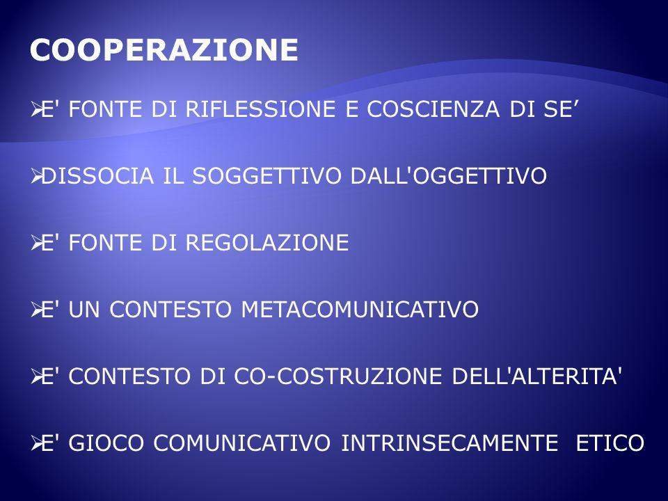 COOPERAZIONE E FONTE DI RIFLESSIONE E COSCIENZA DI SE'