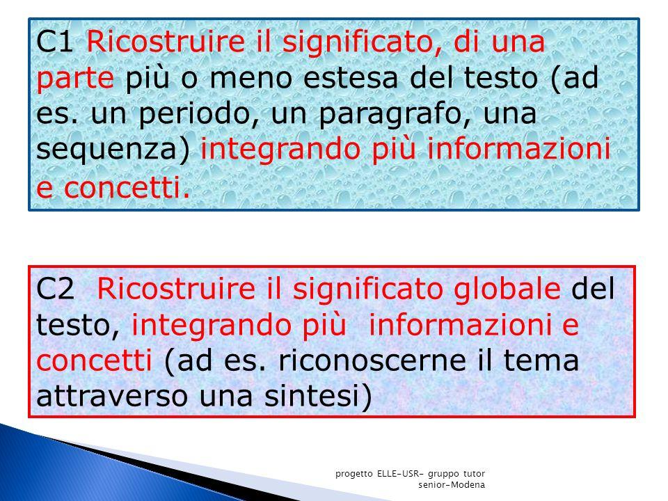 C1 Ricostruire il significato, di una parte più o meno estesa del testo (ad es. un periodo, un paragrafo, una sequenza) integrando più informazioni e concetti.