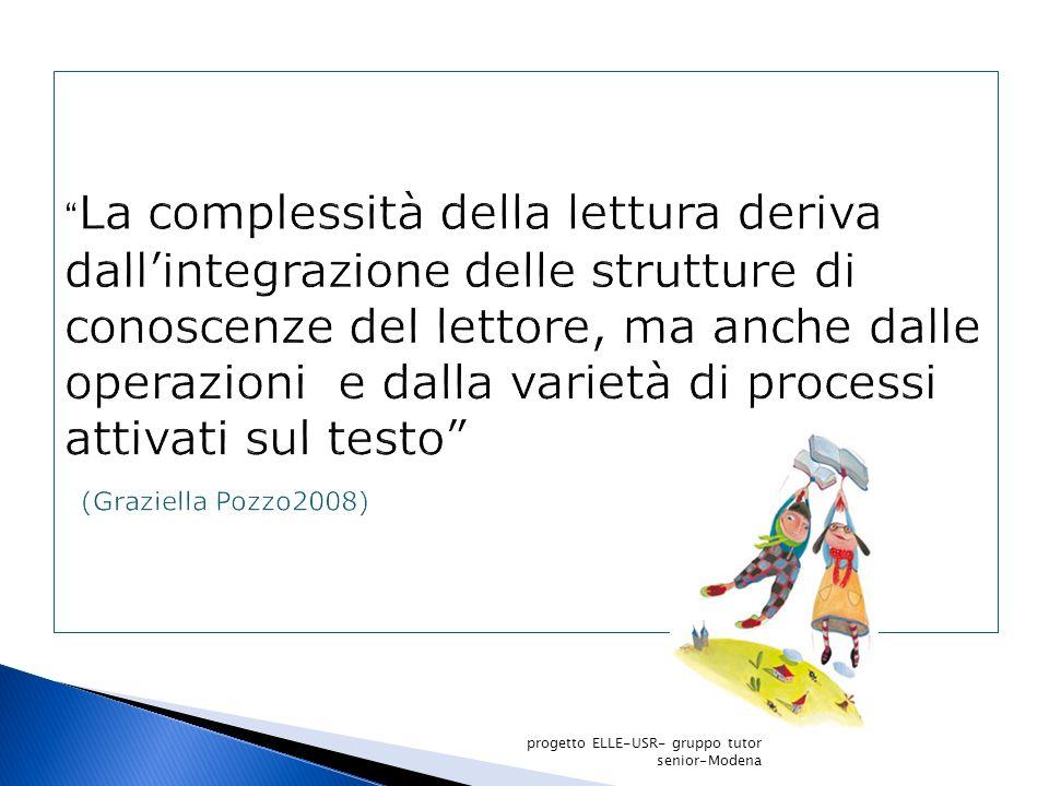 La complessità della lettura deriva dall'integrazione delle strutture di conoscenze del lettore, ma anche dalle operazioni e dalla varietà di processi attivati sul testo (Graziella Pozzo2008)