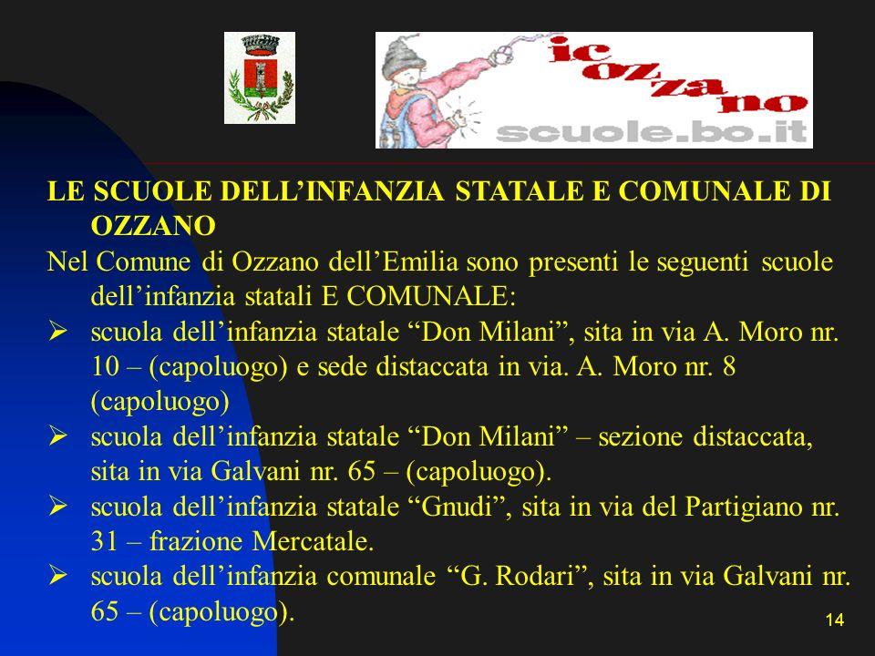LE SCUOLE DELL'INFANZIA STATALE E COMUNALE DI OZZANO