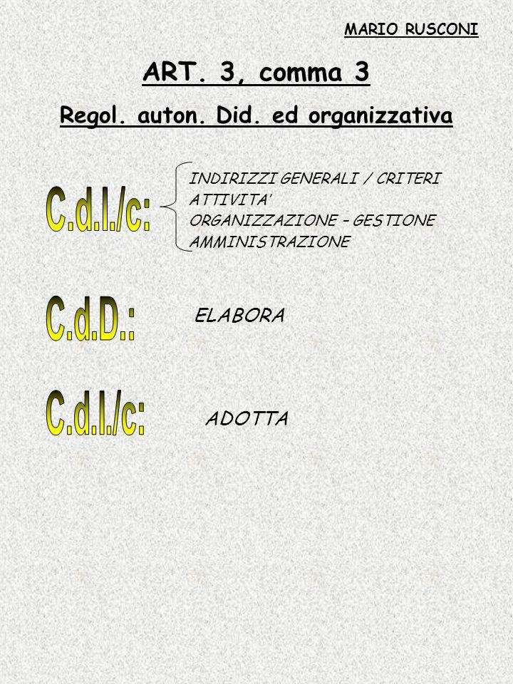 Regol. auton. Did. ed organizzativa
