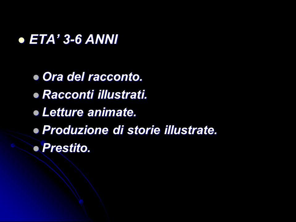 ETA' 3-6 ANNI Ora del racconto. Racconti illustrati. Letture animate.