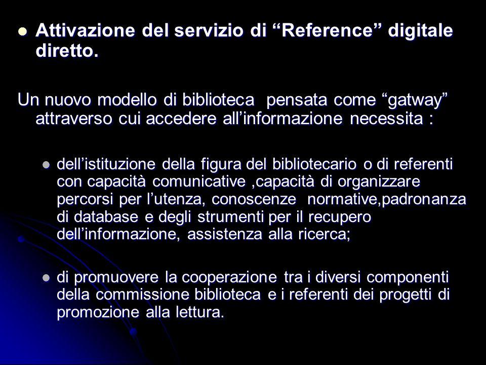 Attivazione del servizio di Reference digitale diretto.