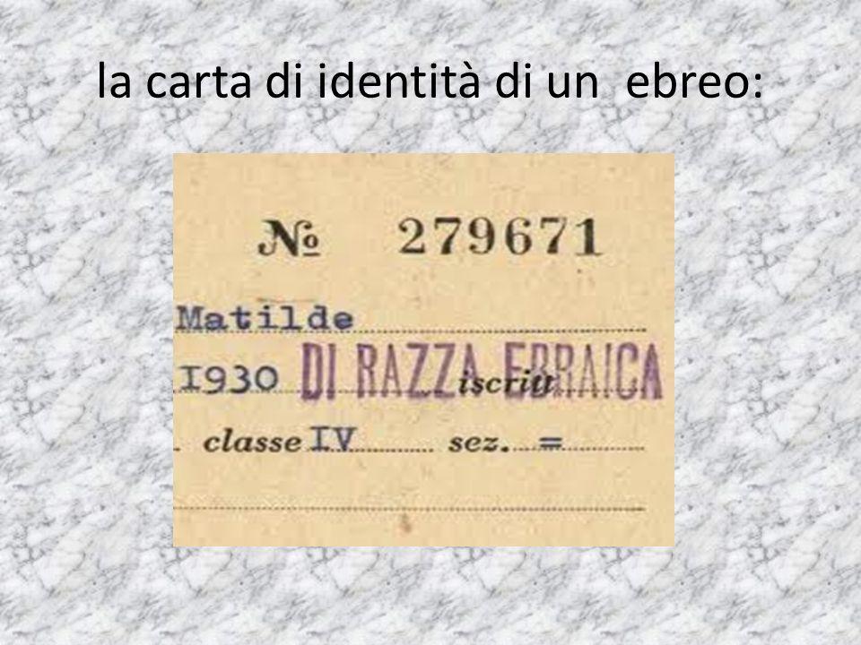 la carta di identità di un ebreo: