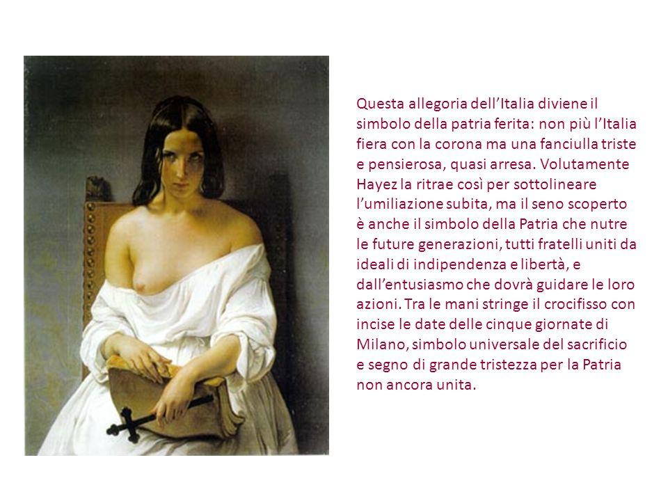 Questa allegoria dell'Italia diviene il simbolo della patria ferita: non più l'Italia fiera con la corona ma una fanciulla triste e pensierosa, quasi arresa.