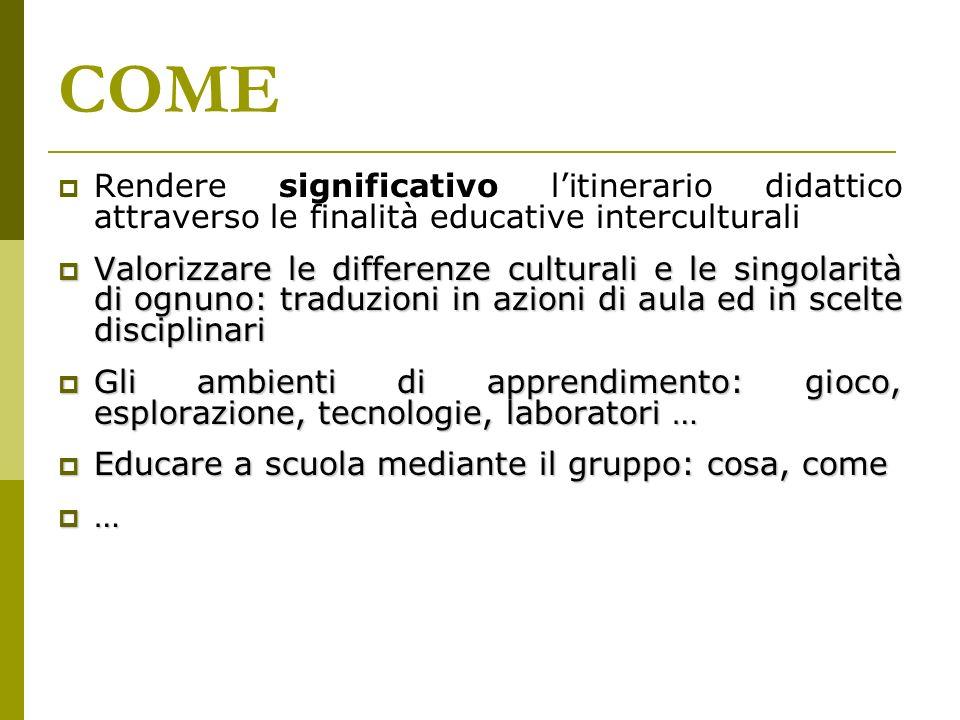 COME Rendere significativo l'itinerario didattico attraverso le finalità educative interculturali.