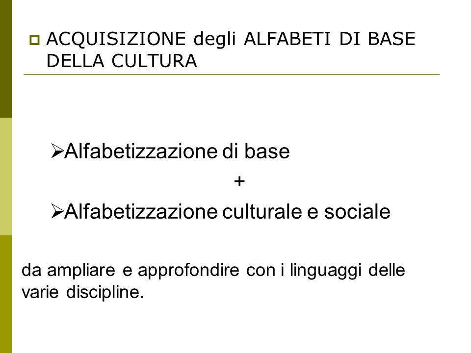 Alfabetizzazione di base + Alfabetizzazione culturale e sociale
