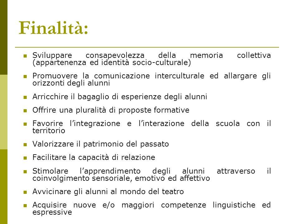 Finalità: Sviluppare consapevolezza della memoria collettiva (appartenenza ed identità socio-culturale)
