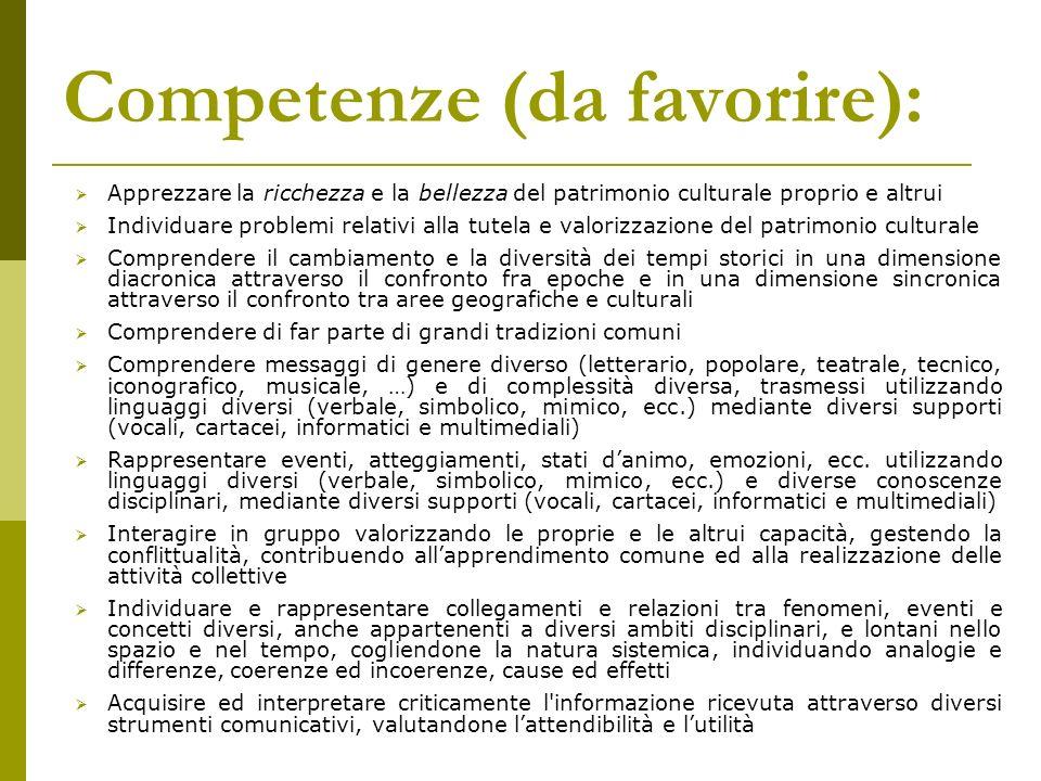 Competenze (da favorire):