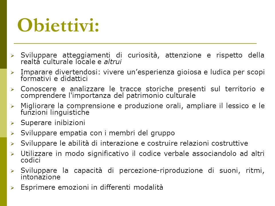 Obiettivi: Sviluppare atteggiamenti di curiosità, attenzione e rispetto della realtà culturale locale e altrui.