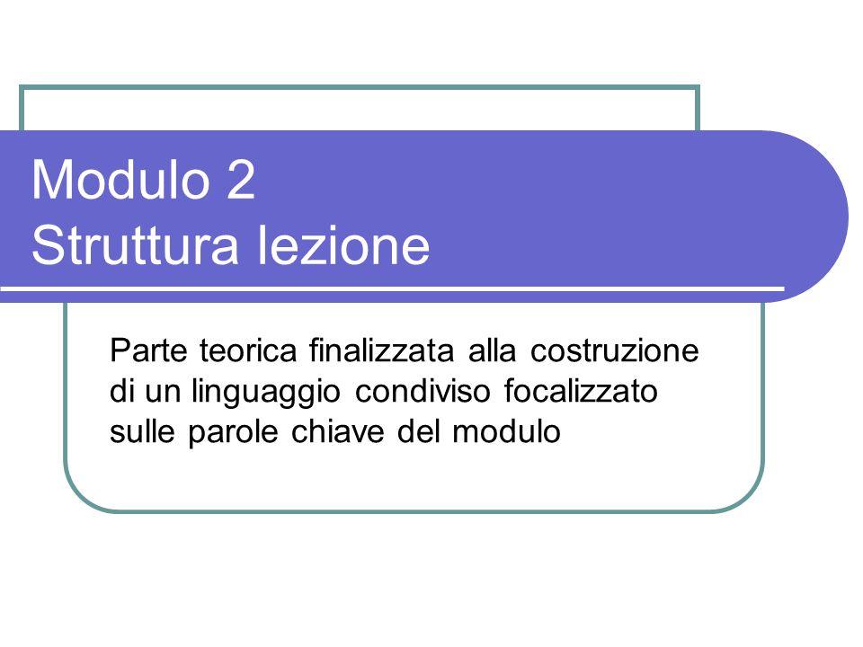 Modulo 2 Struttura lezione