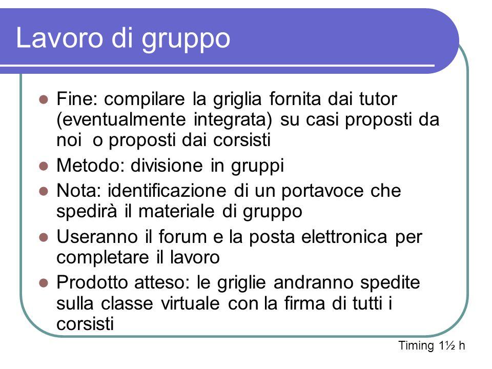 Lavoro di gruppo Fine: compilare la griglia fornita dai tutor (eventualmente integrata) su casi proposti da noi o proposti dai corsisti.