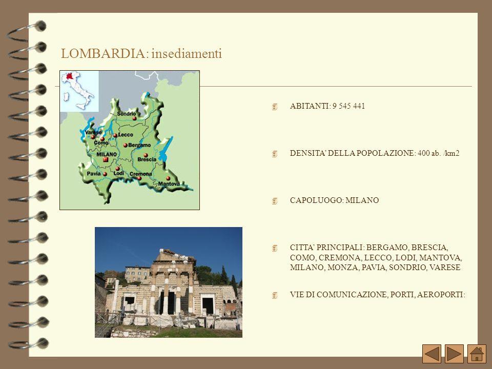 LOMBARDIA: insediamenti
