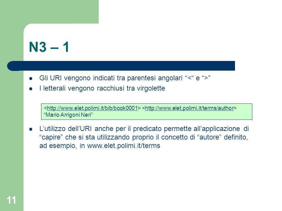 N3 – 1 Gli URI vengono indicati tra parentesi angolari < e >