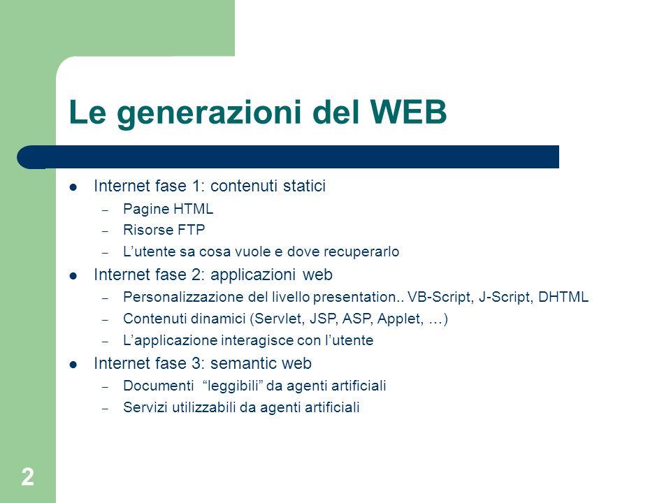 Le generazioni del WEB Internet fase 1: contenuti statici