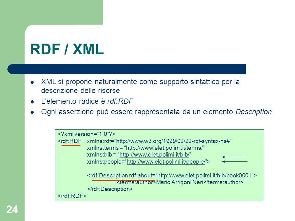 RDF / XML XML si propone naturalmente come supporto sintattico per la descrizione delle risorse. L'elemento radice è rdf:RDF.