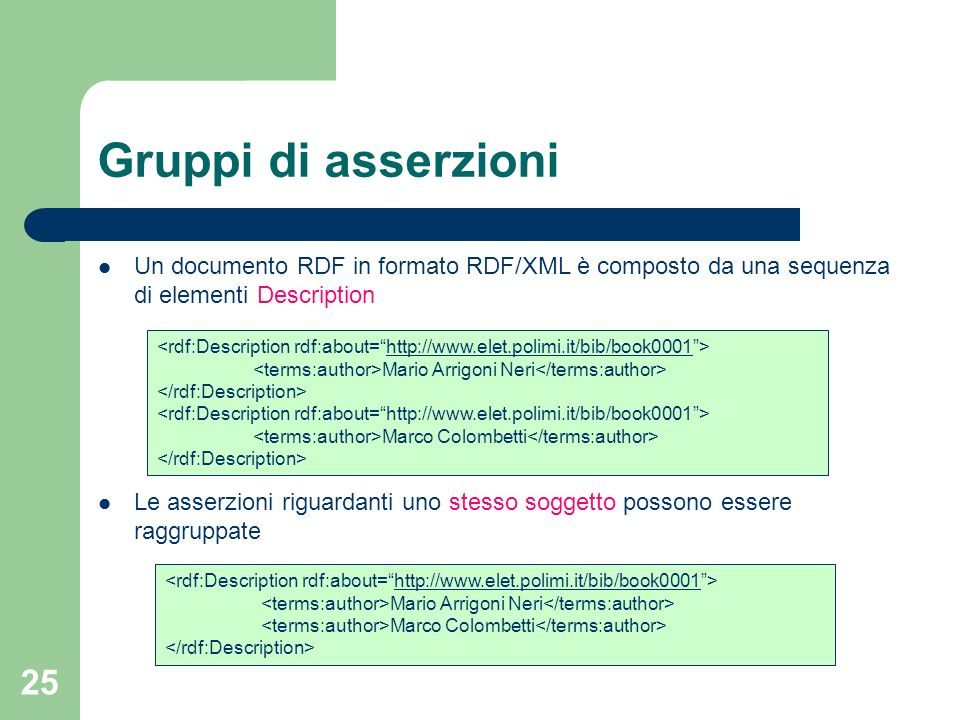 Gruppi di asserzioni Un documento RDF in formato RDF/XML è composto da una sequenza di elementi Description.