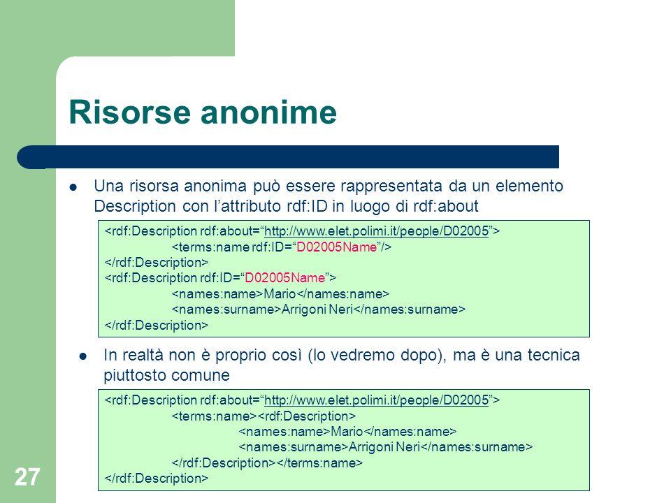 Risorse anonimeUna risorsa anonima può essere rappresentata da un elemento Description con l'attributo rdf:ID in luogo di rdf:about.