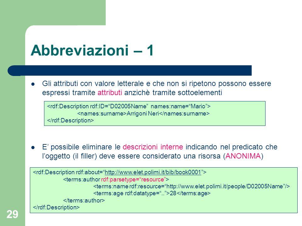 Abbreviazioni – 1 Gli attributi con valore letterale e che non si ripetono possono essere espressi tramite attributi anzichè tramite sottoelementi.