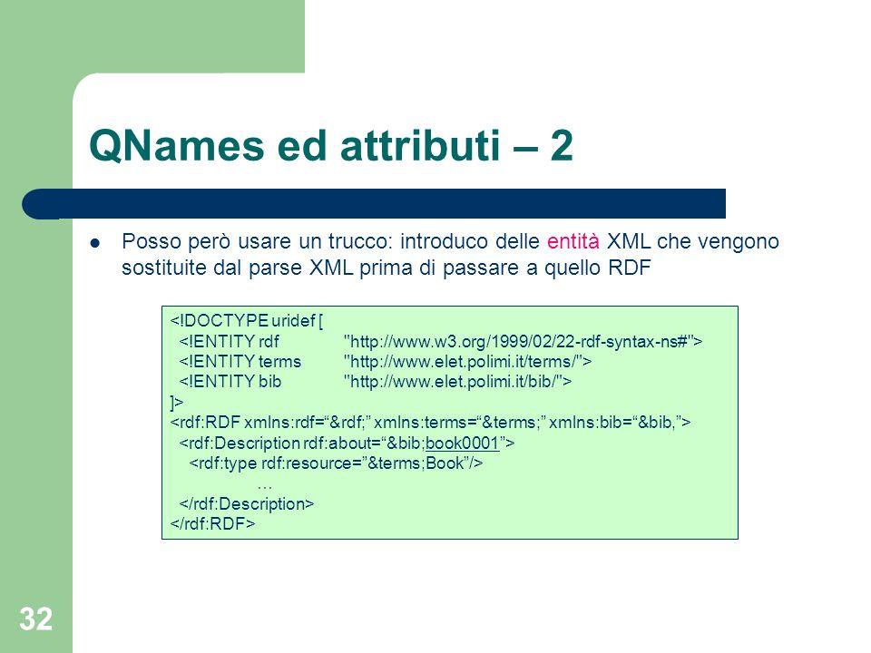 QNames ed attributi – 2 Posso però usare un trucco: introduco delle entità XML che vengono sostituite dal parse XML prima di passare a quello RDF.
