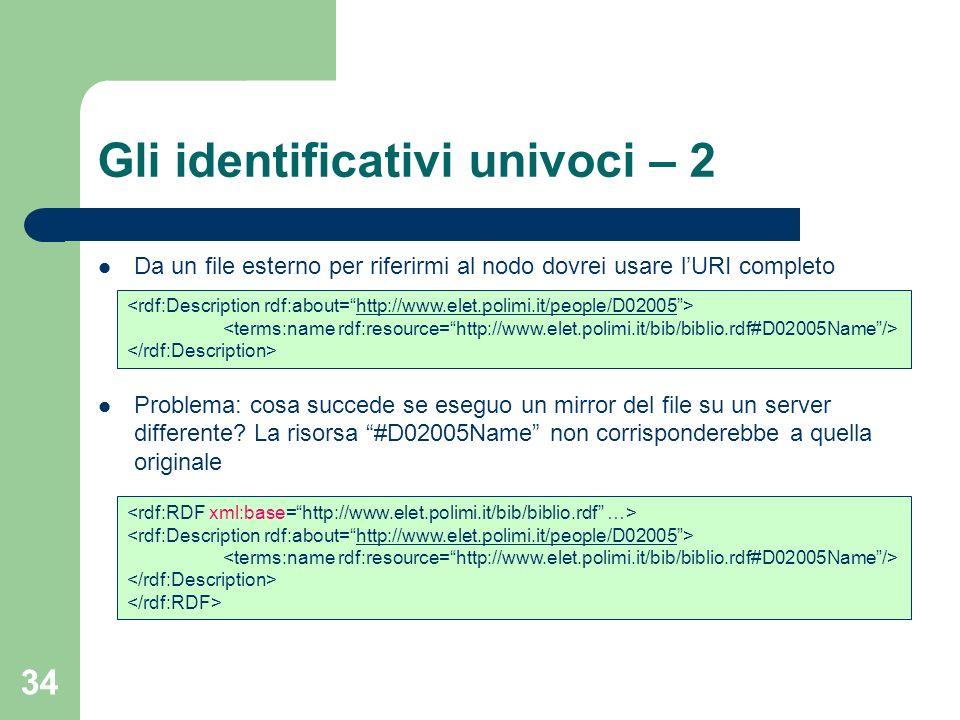 Gli identificativi univoci – 2