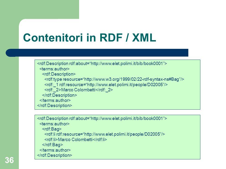 Contenitori in RDF / XML
