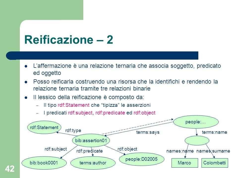 Reificazione – 2L'affermazione è una relazione ternaria che associa soggetto, predicato ed oggetto.