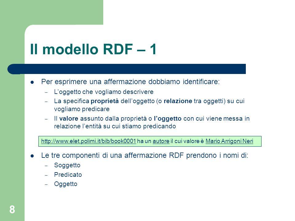 Il modello RDF – 1 Per esprimere una affermazione dobbiamo identificare: L'oggetto che vogliamo descrivere.