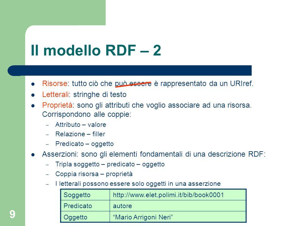 Il modello RDF – 2 Risorse: tutto ciò che può essere è rappresentato da un URIref. Letterali: stringhe di testo.