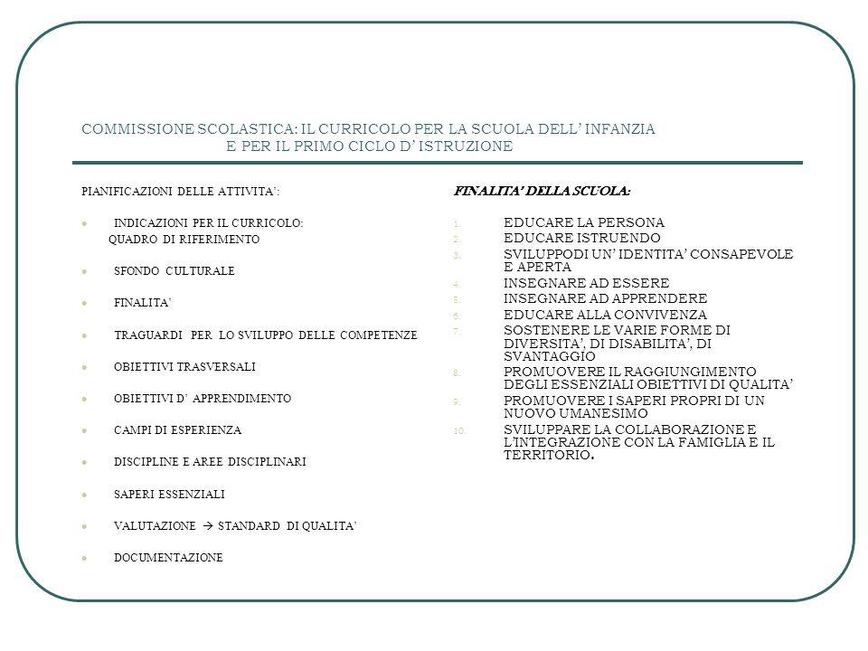 COMMISSIONE SCOLASTICA: IL CURRICOLO PER LA SCUOLA DELL' INFANZIA E PER IL PRIMO CICLO D' ISTRUZIONE