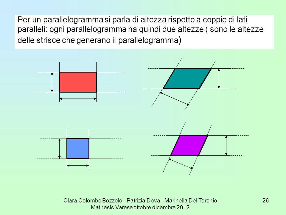 Per un parallelogramma si parla di altezza rispetto a coppie di lati