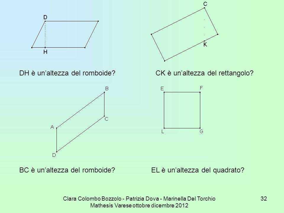 DH è un'altezza del romboide CK è un'altezza del rettangolo