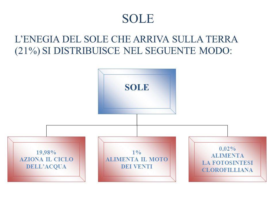 SOLEL'ENEGIA DEL SOLE CHE ARRIVA SULLA TERRA (21%) SI DISTRIBUISCE NEL SEGUENTE MODO: SOLE. 19,98% AZIONA IL CICLO.