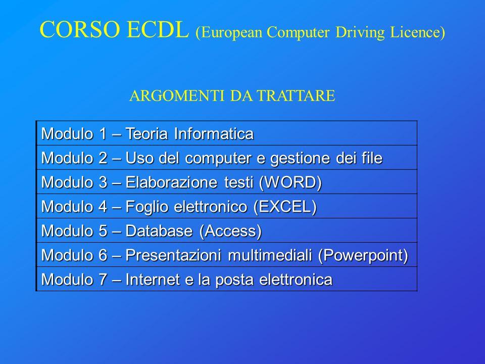 CORSO ECDL (European Computer Driving Licence)