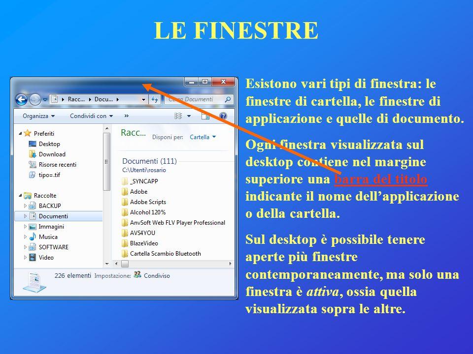 LE FINESTRE Esistono vari tipi di finestra: le finestre di cartella, le finestre di applicazione e quelle di documento.