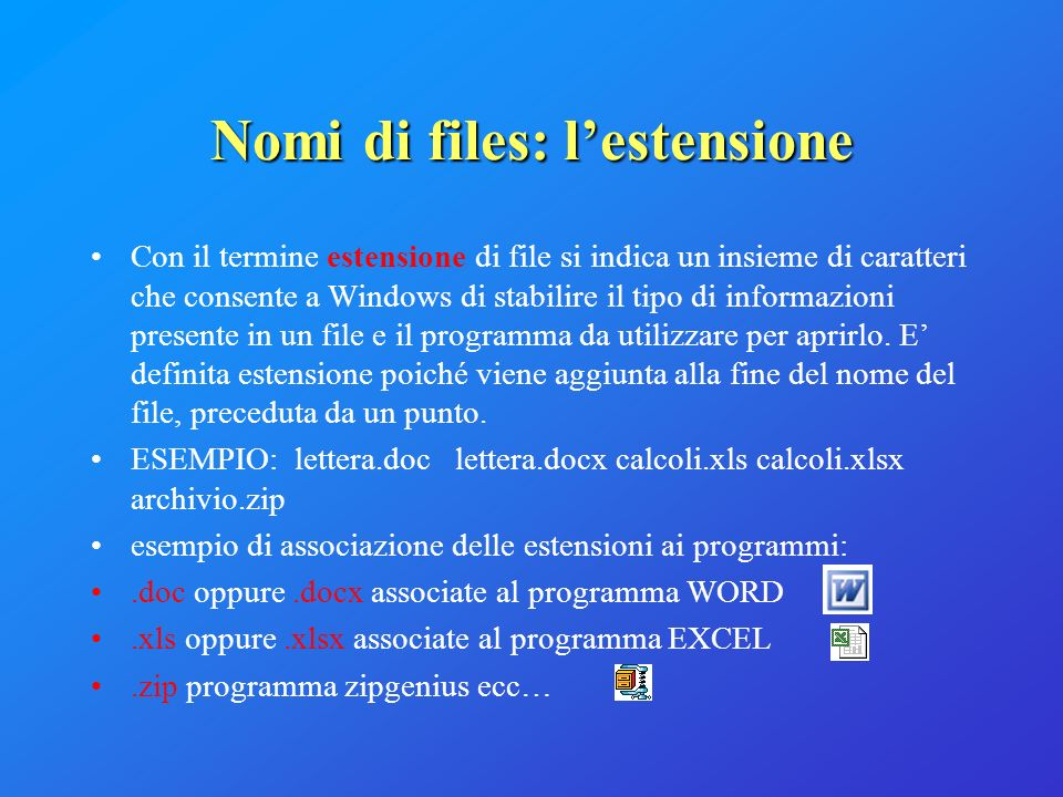 Nomi di files: l'estensione