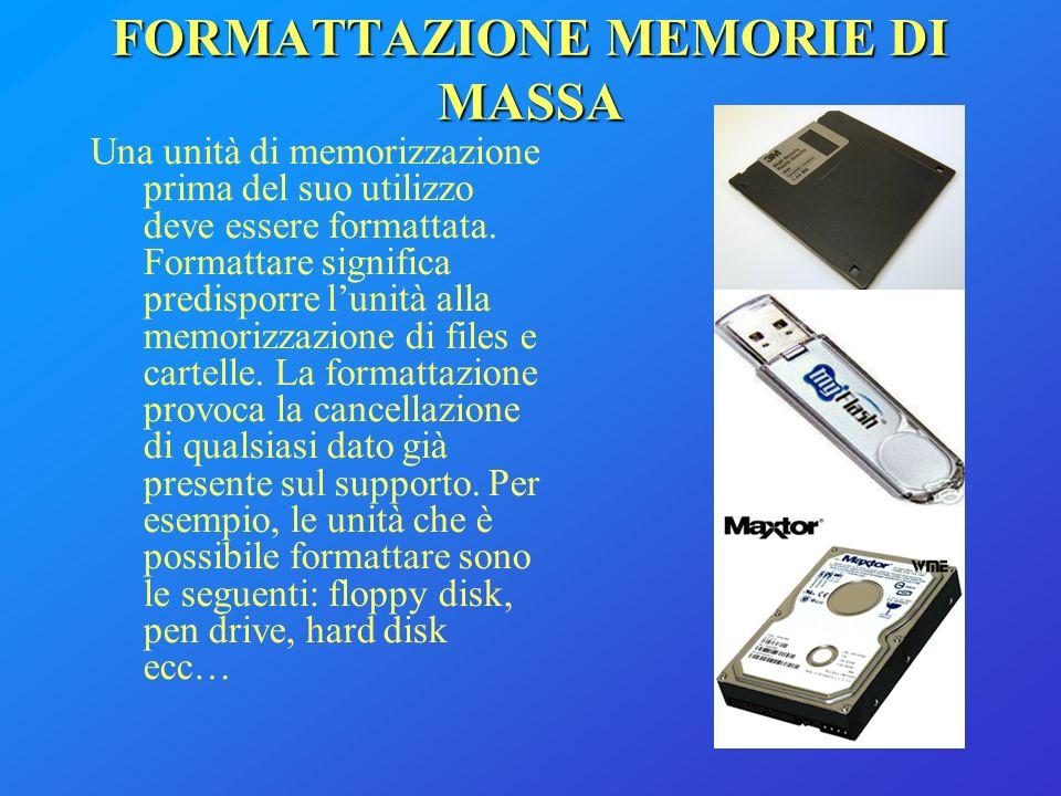 FORMATTAZIONE MEMORIE DI MASSA