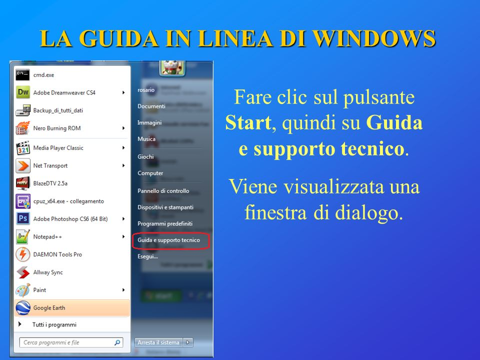 LA GUIDA IN LINEA DI WINDOWS