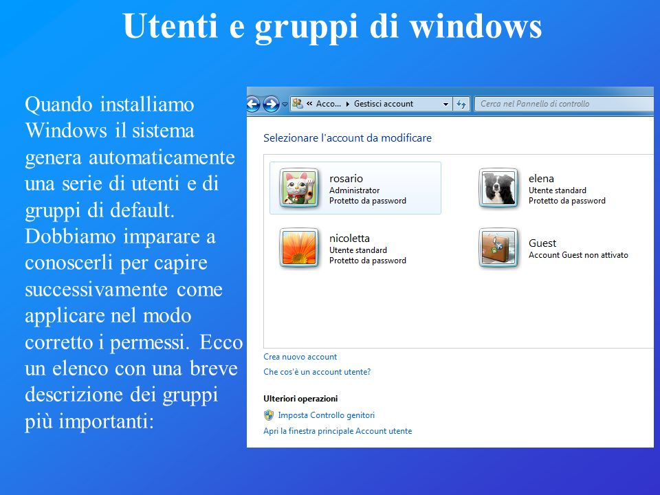 Utenti e gruppi di windows