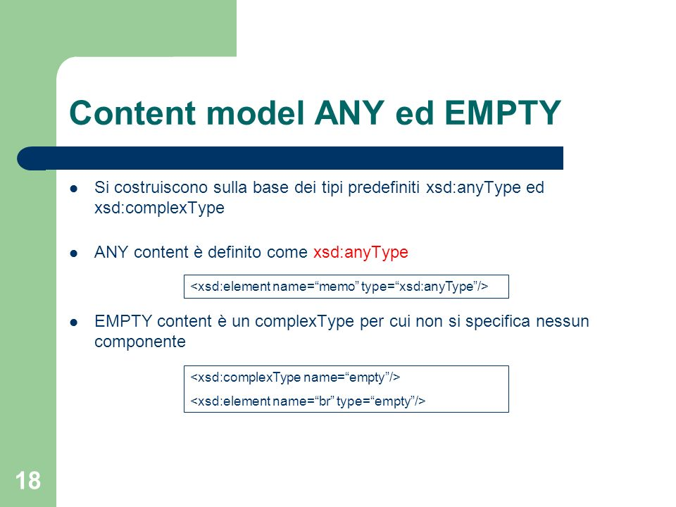 Content model ANY ed EMPTY