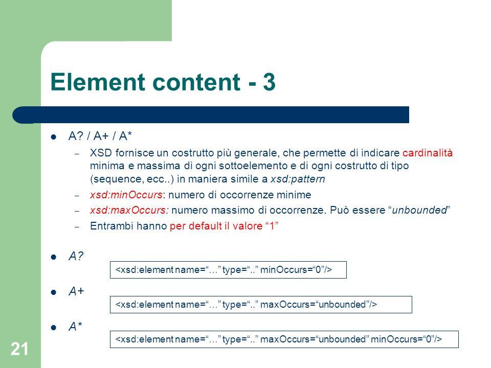 Element content - 3 A / A+ / A* A A+ A*