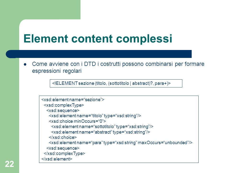 Element content complessi