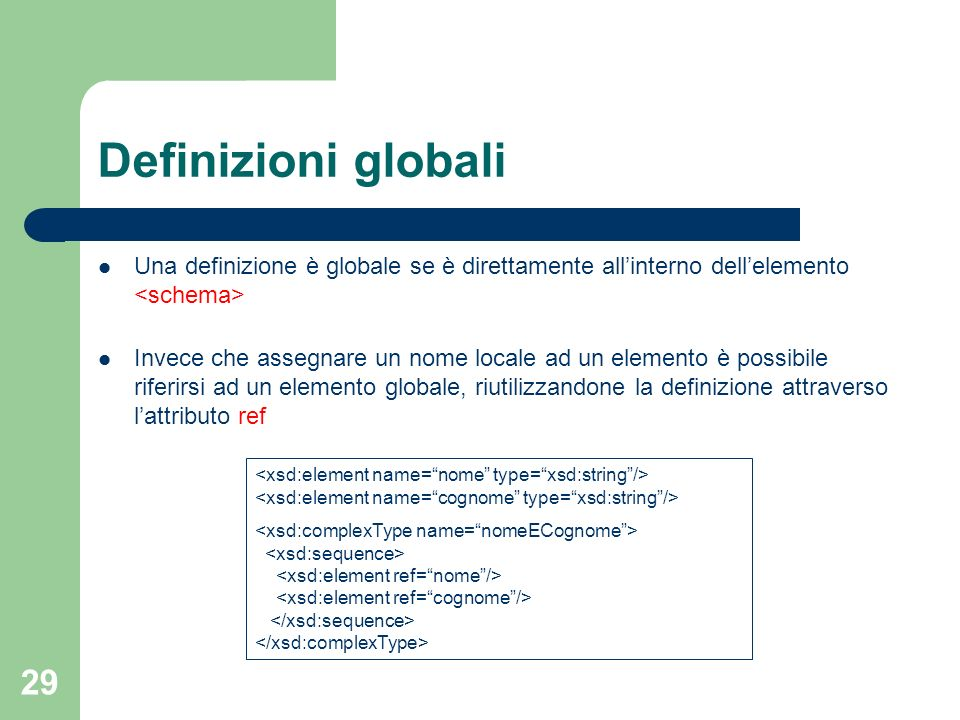 Definizioni globali Una definizione è globale se è direttamente all'interno dell'elemento <schema>