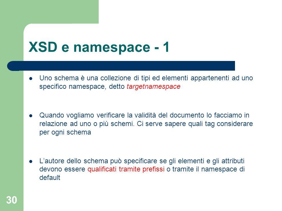 XSD e namespace - 1 Uno schema è una collezione di tipi ed elementi appartenenti ad uno specifico namespace, detto targetnamespace.