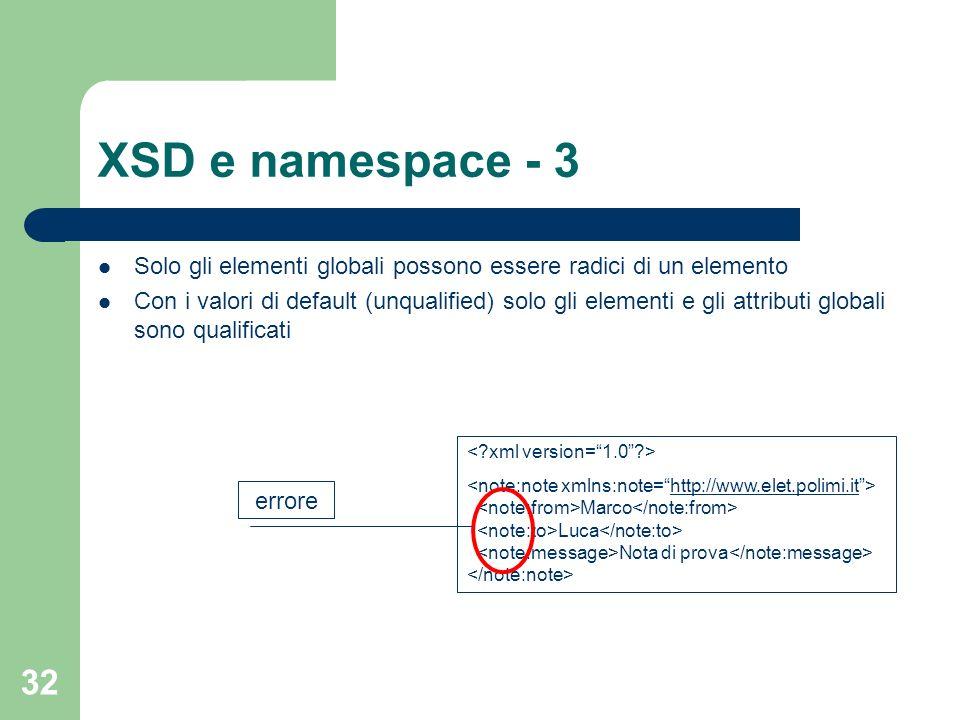 XSD e namespace - 3 Solo gli elementi globali possono essere radici di un elemento.